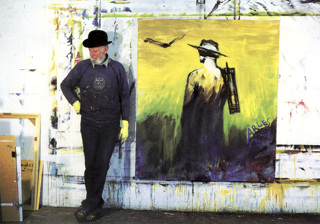 Ferlinghetti in his studio, working on his van Gogh series. San Francisco, 1994.
