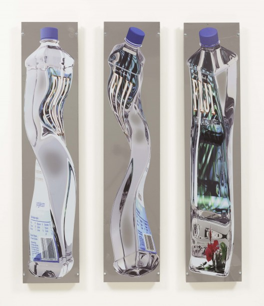 Yung Jake, Stretched Fiji Water, 2014. Vinyl wrap on found metal, 75 1/2 x 16 1/4 x 3 inches each. Courtesy of Steve Turner Contemporary.