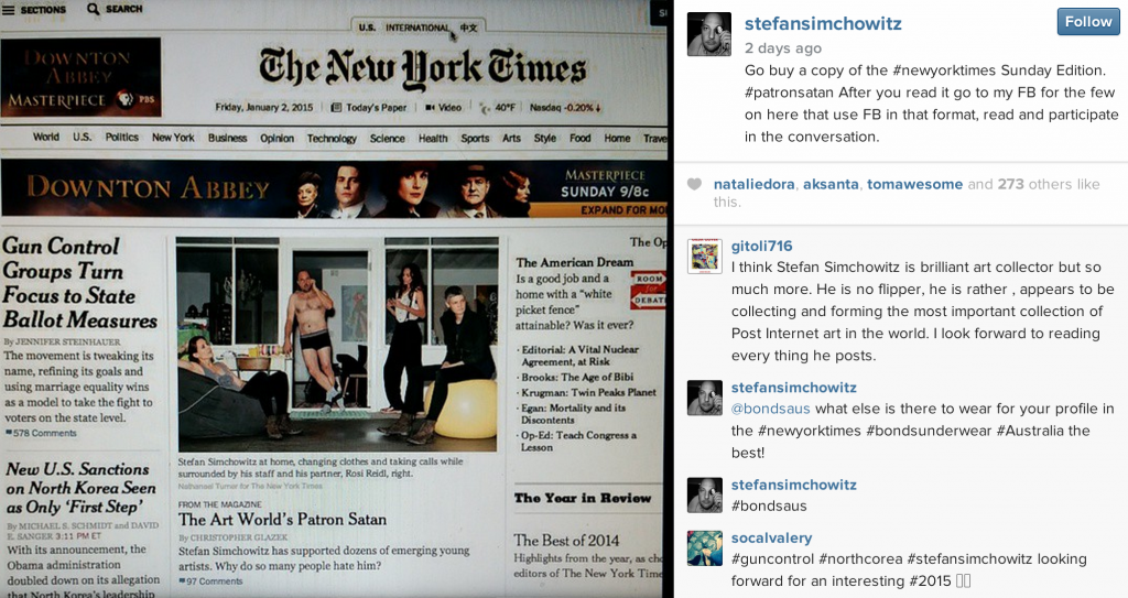A picture from Stefan Simchowitz's instagram account urging his followers to read his NYT piece and then scour his Facebook page for his truth.