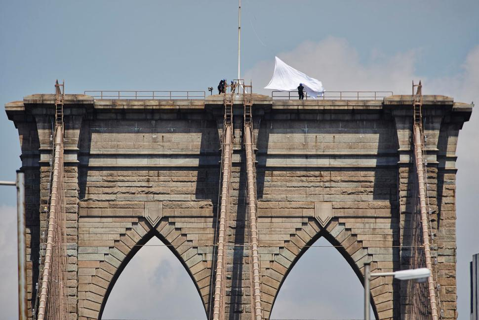 White Flags on top of the Brooklyn Bridge, New York City, 2014. Photo by James Keivom/New York Daily News.