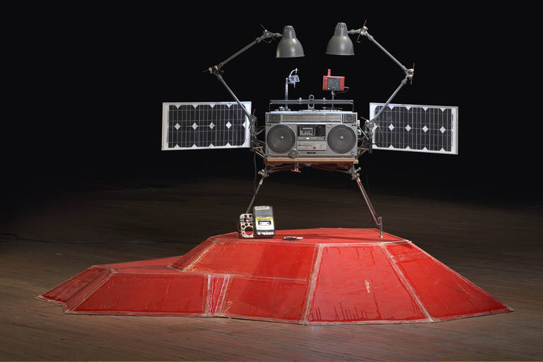 Tom Sachs, Phonkey, 2011. Mixed media. 49 x 34 x 13 3/4 inches. Courtesy Tom Sachs Studio, Gagosian Gallery, and the Contemporary Austin.