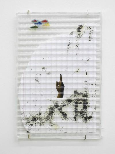 Benoît Maire, Plate 8, 2014. Lambda print on Fuli transparent paper, glass, 30 x 20 cm. Courtesy of the artist and Kiria Koula.