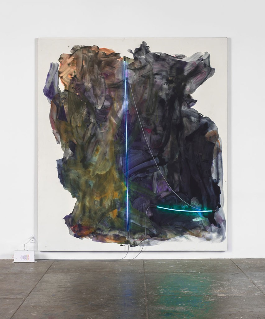 "Mary Weatherford. ""La Noche,"" 2014 From the MoMa exhibit ""The Forever Now: Contemporary Painting in an Atemporal World."" Synthetic Polymer Paint on Linen with Neon Lights and transformer. Courtesy David Kordansky Gallery, Los Angeles and MoMa Website. Photo: Fredrik Nilsen."