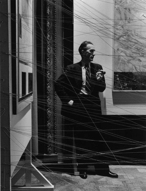 "Arnold Newman, ""Marcel Duchamp, painter and sculptor,"" New York, 1942. Gelatin silver print. 28 1/8 x 22 5/8 in. Courtesy of the Contemporary Jewish Museum, San Francisco."