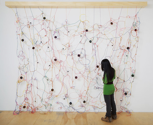 Julianne Swartz, Loop, 2010. Speakers, wire, electronics, electronics, 8-channel soundtrack, 138 x 132 x 10 inches. Courtesy of the Palo Alto Art Center.