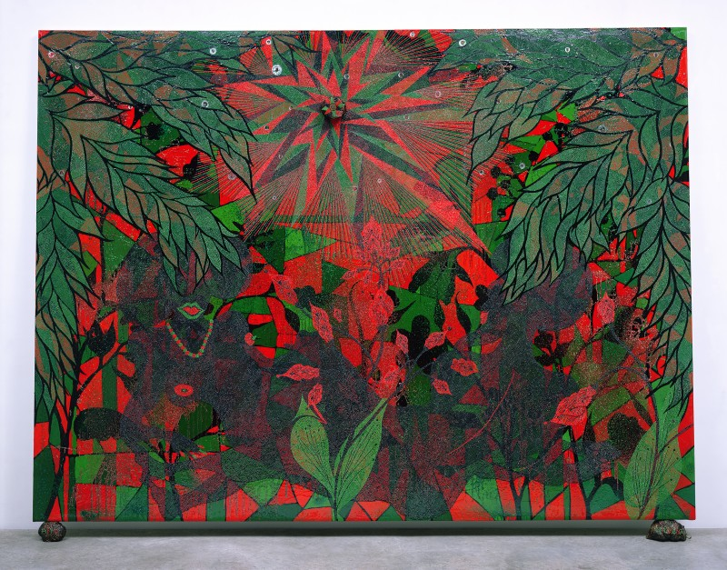 "Chris Ofili, ""Afronirvana"", 2002 (detail). Oil, acrylic, polyester resin, aluminum foil, glitter, map pins, and elephant dung on canvas,108 × 144 in (274.3 × 365.7 cm). Courtesy The New Museum."
