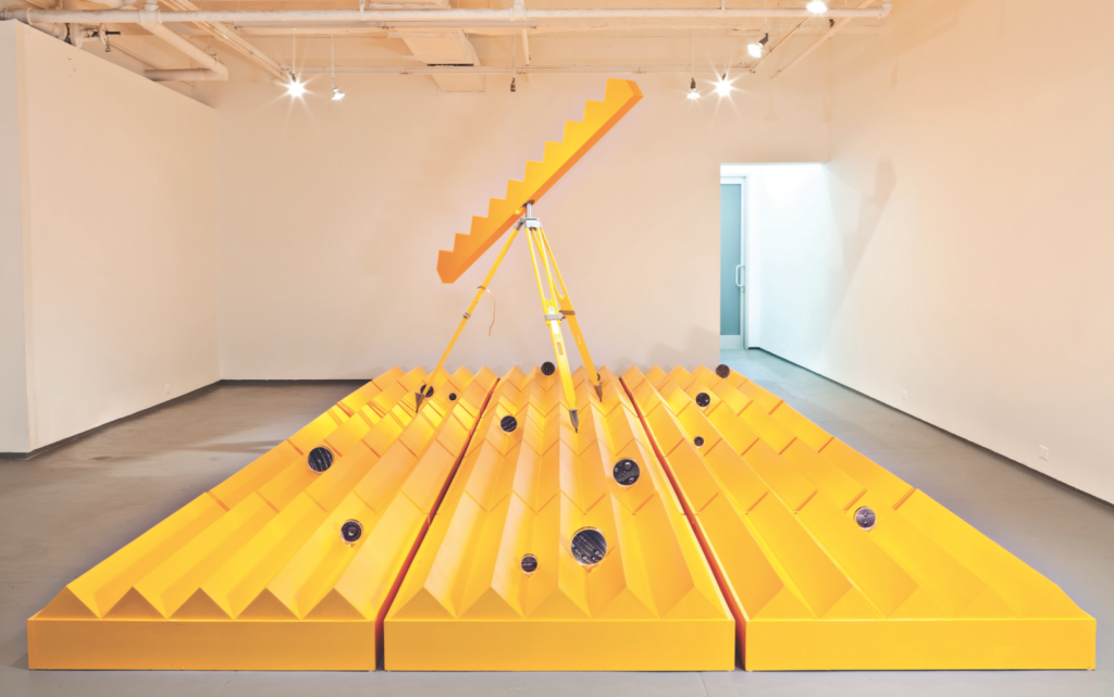 """""""The Fact,"""" 2014. Wood, acrylic embedment, metal 30' x 12' x 9' foot. Photograph by Geandy Pavon. Courtesy of the artist."""