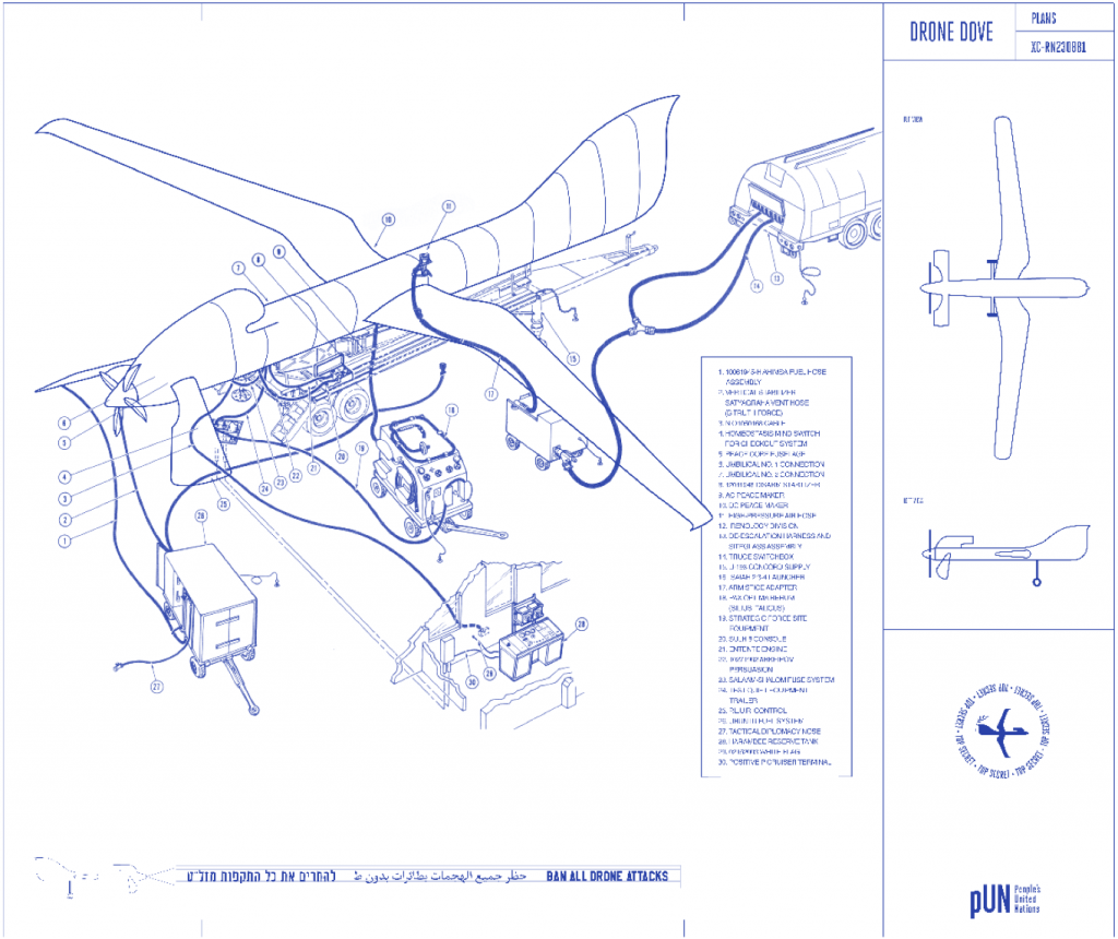 Pedro Reyes, Blueprint plans for Drone Dove, 2013. Courtesy of the artist.