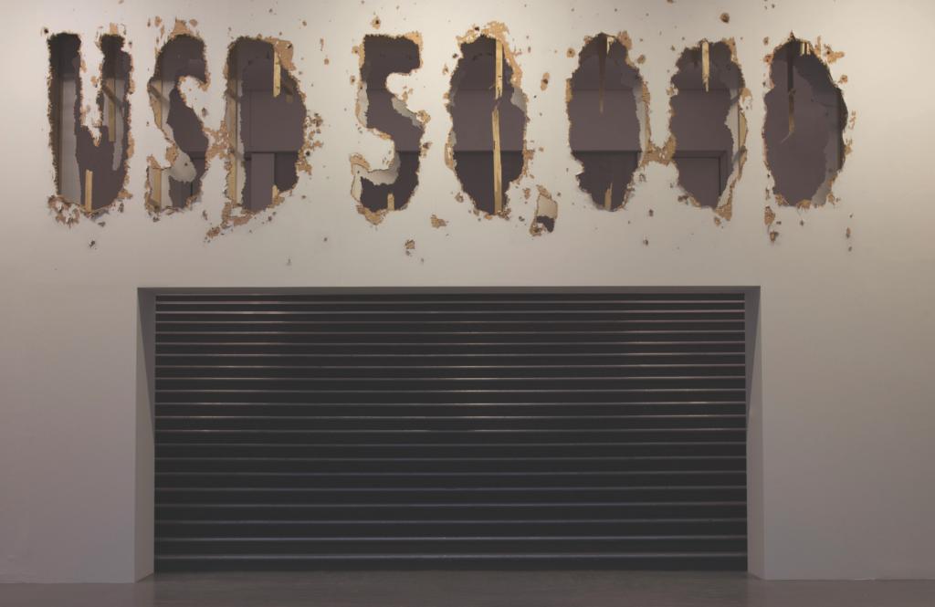 """No young artist can resist a $50,000 cannon blast,"" 2012. Installation view at Musée d'Art Moderne de la Ville de Paris, part of the group show Resisting the Present, Mexico 2000-2012. Courtesy of the artists."