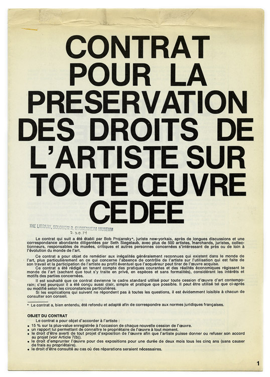 "Seth Siegelaub, French translation of ""The Artist's Reserved Rights Transfer and Sale Agreement,"" 1971. Collection on Arts Organizations. A0014. Courtesy of Solomon R. Guggenheim Museum Archives, New York."