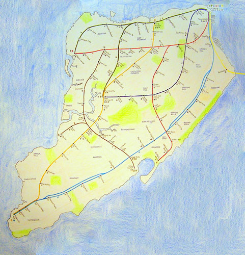 "Neil Greenberg, Urban ""What If"" Map, 2013. Crayon, ink, and colored pencil on paper. Courtesy of the artist and Staten Island Arts"
