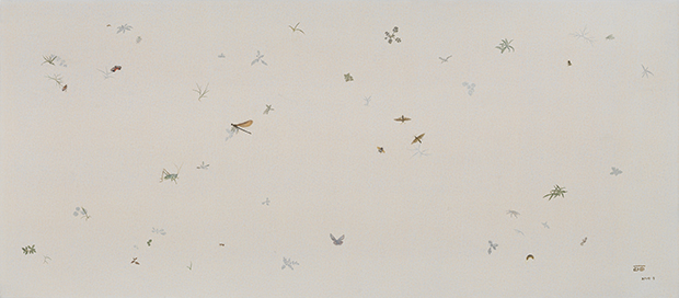Wu Didi, No Weeds No.6, 2014. Oil on canvas, 29 1/2 x 66 3/4 inches. Courtesy of Chambers Fine Art.
