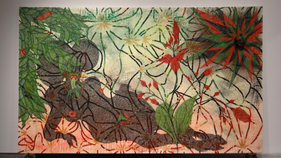 "Chris Ofili, ""Triple Beam Dreamer,"" 2001–02. Acrylic, oil, leaves, glitter, polyester resin, map pins,and elephant dung on linen, 72 x 120 in (182.8 x 304.8 cm). © Chris Ofili. Courtesy the artist, David Zwirner, New York / London and Victoria Miro, London"