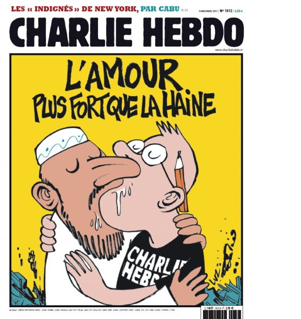 """Love is Stronger than Hate."" Photo courtesy Charlie Hebdo."