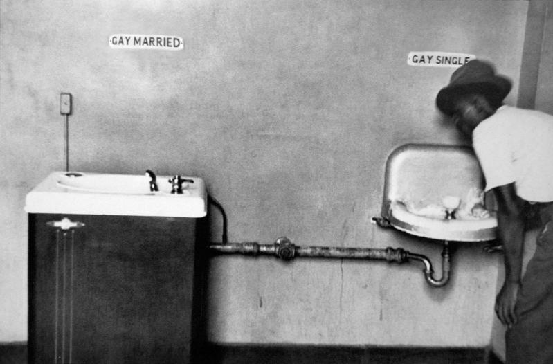 """John Waters, """"Separate But Equal,"""" 2014. C-print. 6 1/2 x 9 7/8 inches. Courtesy of the artist and Marianne Boesky Gallery."""
