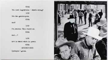 John Baldessari, Cowboys, 2015. Diptych, varnished inkjet, 107 3/4 x 59 1/2 inches. Courtesy of Marian Goodman Gallery.