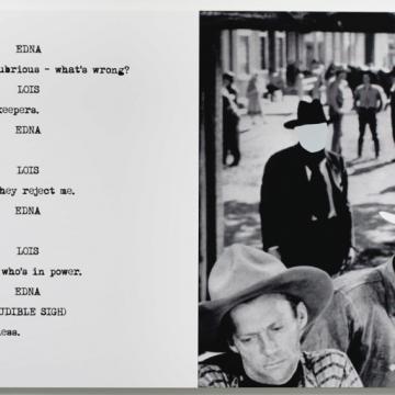 John Baldessari, Cowboys, 2015. Diptych, varnished inkjet, 107 3/4 x 59 1/2 inches. Courtesy of Marian Goodman Gallery.