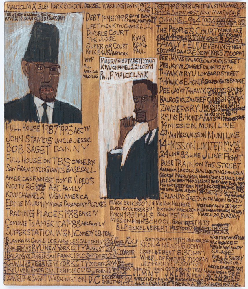 "Daniel Green, ""Malcolm X,"" 2014. Mixed media on wood, 14.25 x 12 x .75 inches. Courtesy of the artist and Creativity Explored."