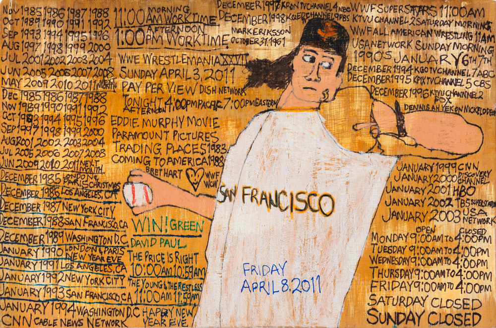 "Daniel Green, ""Untitled (Tim Lincecum),"" 2011. Mixed media on wood. Courtesy of the artist and Creativity Explored."