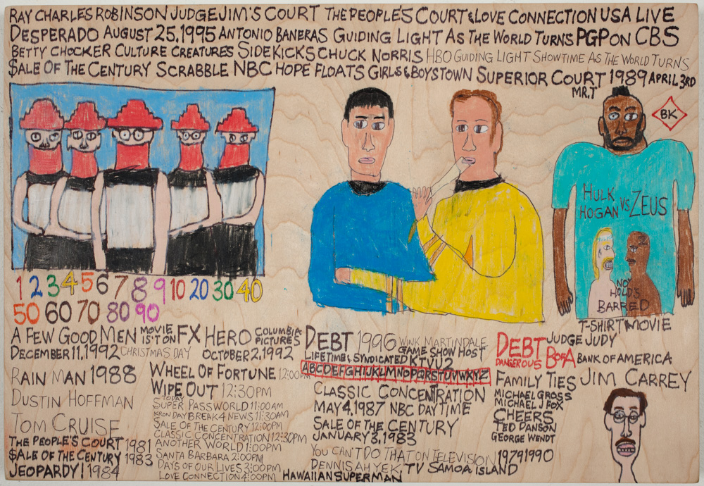 "Daniel Green, ""Devo, Spock, No Hold's Barred,"" 2012. Mixed media on wood, 9.75 x 14 x 1 inches. Courtesy of the artist and Creativity Explored."