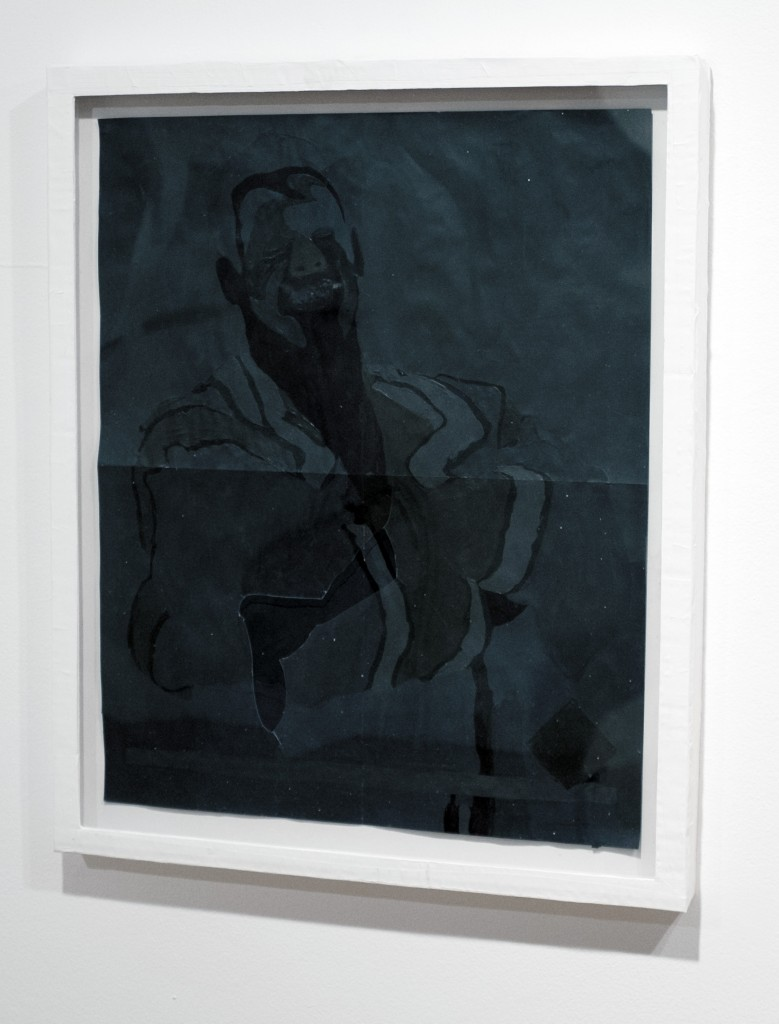 """William Emmert """"Untitled (shadow sting),"""" 2015. Hand painted poster in paper frame. Image courtesy Alter Space."""