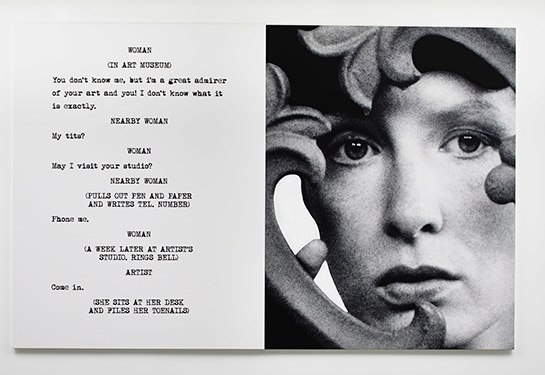 John Baldessari, Face, 2015. Diptych, varnished inkjet, 107 3/4 x 53 7/8 inches. Courtesy of Marian Goodman Gallery.