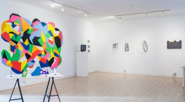"""Making Space"" (installation view). From left: works by Sarah Hotchkiss, Sam Mell, Jodie Mack, and John Zane Zappas. Exhibition held December 10, 2014-January 10, 2015."