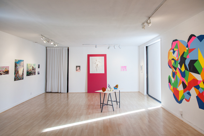"""Making Space"" (installation view). From left: works by Mary Anne Kluth, David Lasley, Sarah Hotchkiss, and Sam Mell. Exhibition held December 10, 2014-January 10, 2015."