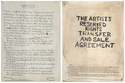 Handwritten draft of Artist Contract by Seth Siegelaub. Courtesy of the Internet.