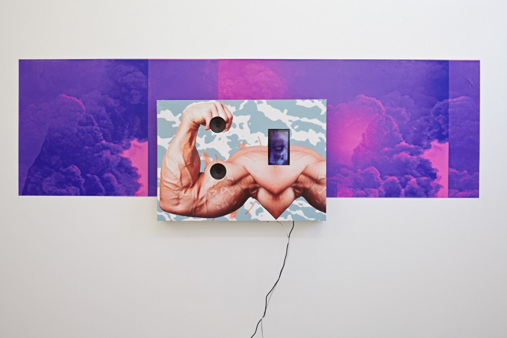 I.P.C. 2/4, 2015. Foil prints, wood, speakers, and tablet screen, 59 x 200 cm and 70 x 51 cm. Courtesy of Maria Stenfors.