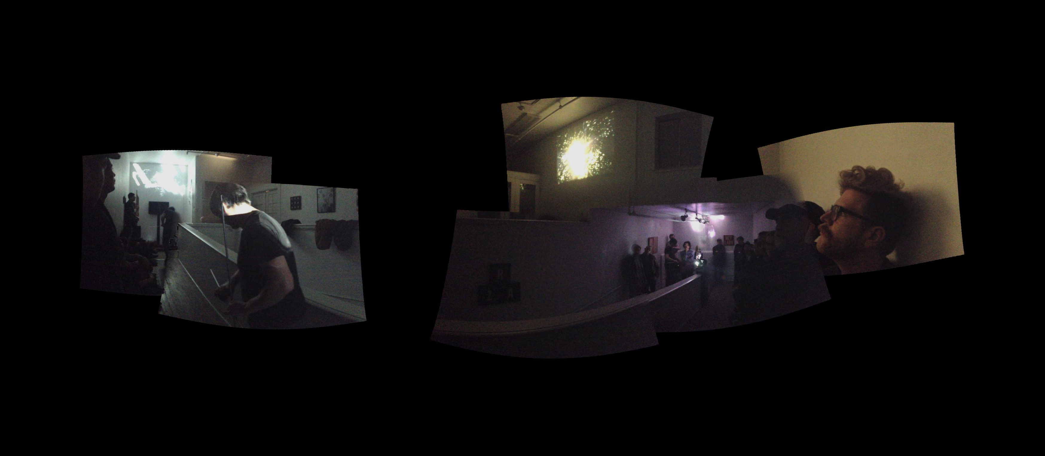 """Performance by Ashley Boullin and Ben Bracken in conjunction with the film """"Pulsars E Quasars"""" by Paul Clipson at Incline Gallery. Image courtesy of Mark Wilson."""