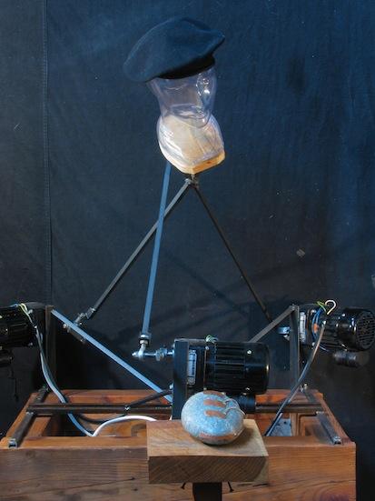 "Kal Spelletich. ""Lawrence Ferlinghetti,"" 2015. Robot, clothes, electronics, mannequin, steel. H: 6' 6.5"" W: 2' 8"" L: 2'"