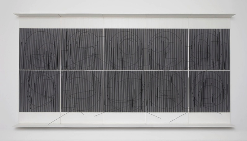 "Jesús Rafael Soto. ""Ecriture (Ecriture noire),"" 1982, paint on wood and metal, nylon, unique. Courtesy Galerie Perrotin."