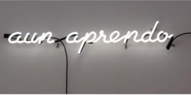 Aun Aprendo, 2014. Neon sculpture. Courtesy of the artist and Gallery 16, San Francisco.