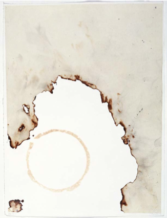 John Cage, Eninka #42, 1986. One from a series of 50 smoked paper monotypes with branding on gampi paper chine collé. 241⁄2 x 181⁄2 in. Published by Crown Point Press.