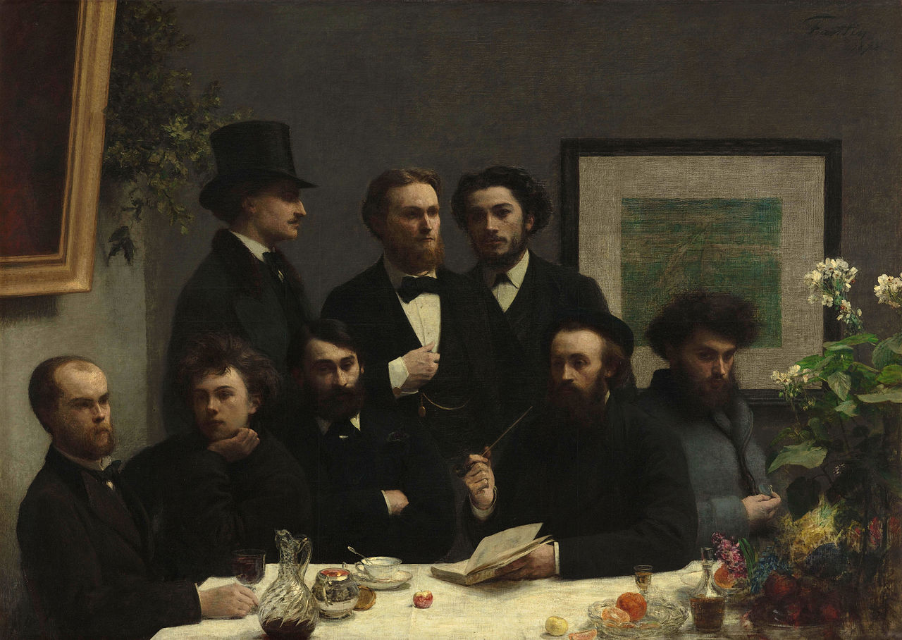 Un coin de table (By the Table) 1872. Oil on canvas, 160 x 225 cm © RMN-Grand Palais (Musée d'Orsay) / Hervé Lewandowski. Three are standing, from left to right: Elzéar Bonnier, Emile Blémont and Jean Aicard. Five are seated: Paul Verlaine and Arthur Rimbaud, Léon Valade, Ernest d'Hervilly and Camille Pelletan.