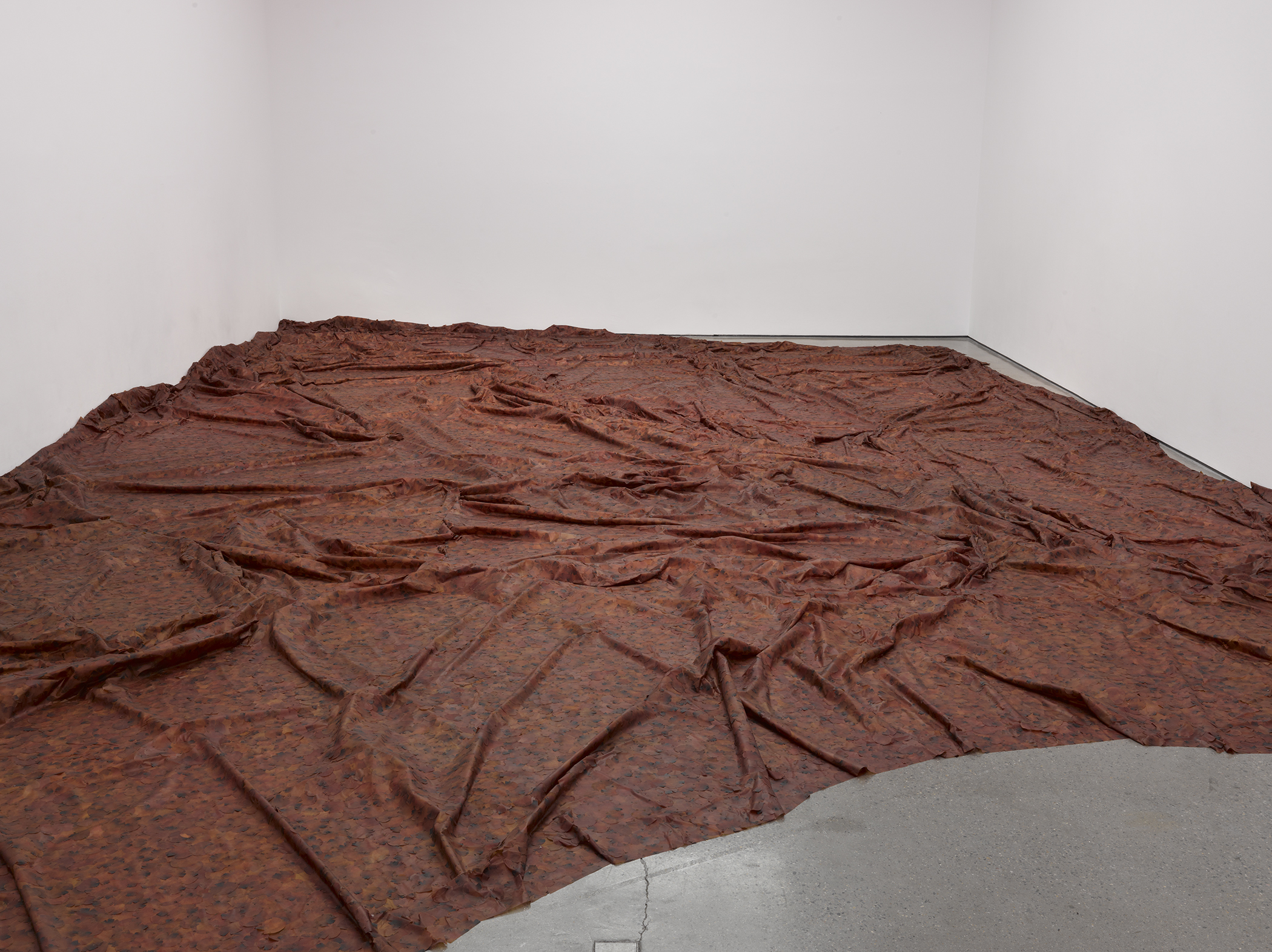 Doris Salcedo, A Flor de Piel, 2011-12. Rose petals and thread. Installation view, White Cube, London, 2012. Photo: Ben Westoby.