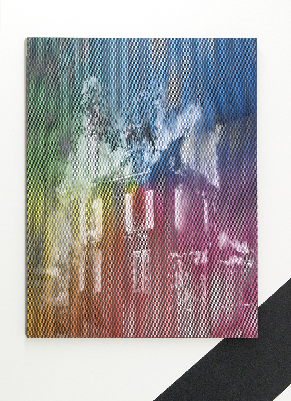 """James Cordas, """"Full Spectrum Suburban House Fire,"""" 2015. 36 x 30''. Steel, perforated vinyl, mirror. Image courtesy of et al. gallery and the artist."""