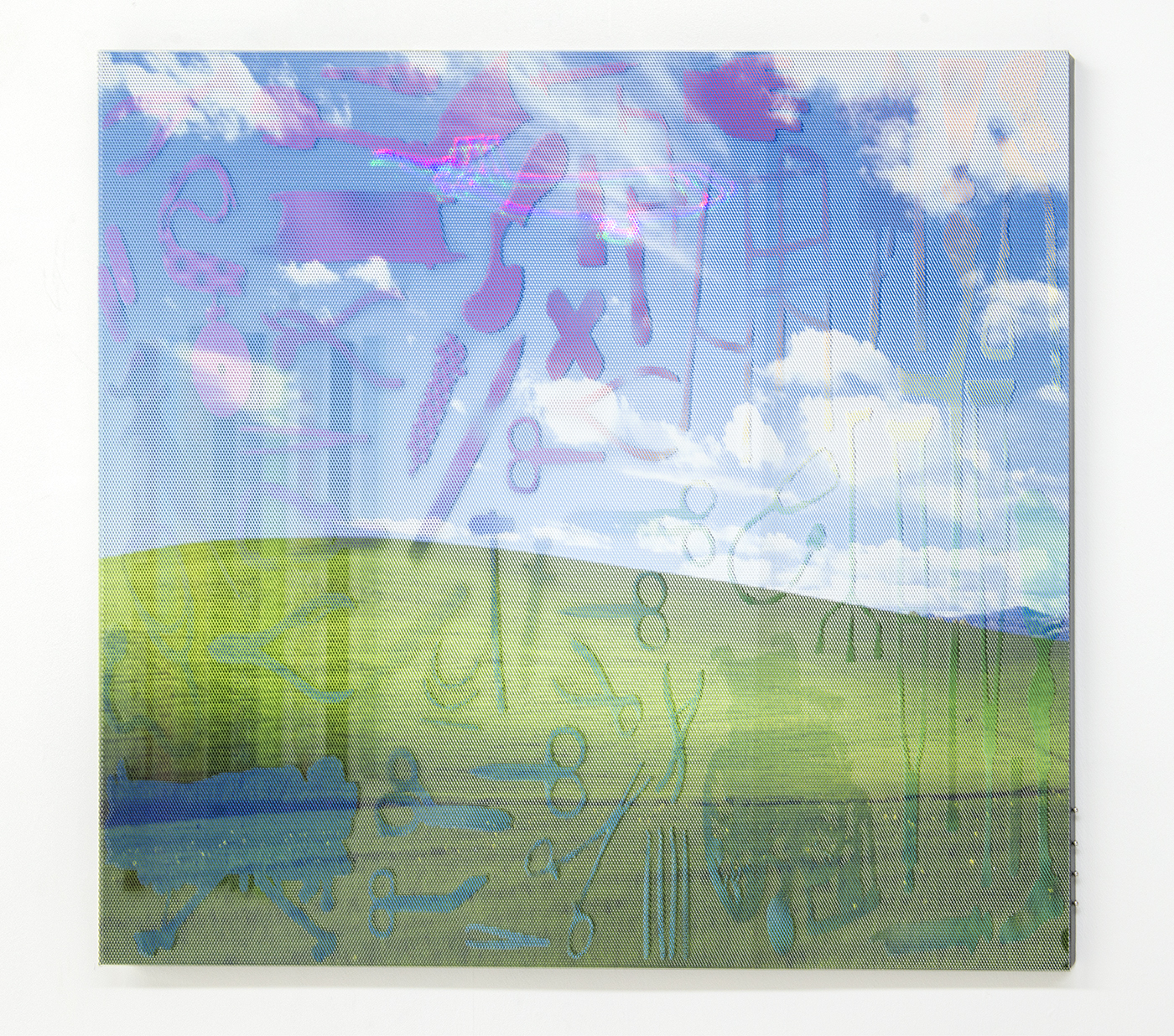 "James Cordas, ""Sharp Park,"" 2015. 30 x 36''. Steel, perforated vinyl, mirror, magnets, laser. Image courtesy of et al. gallery and the artist."