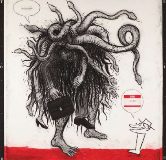 "Enrique Chagoya, Too Big, 2009, charcoal and pastel on paper, 80"" x 80"""