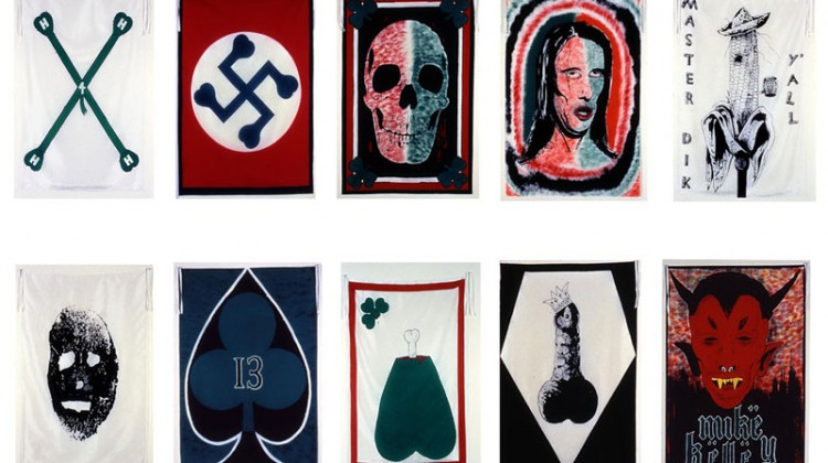 Mike Kelley, Pansy Metal/Clovered Hoof, 1989. Oversized silk scarves on China Silk Habotai, 53 x 38 inches. Edition of 40 with 10 artist's proofs. Courtesy of Carolina Nitsch.