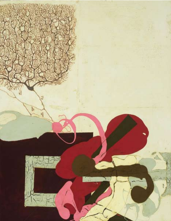 "Katherine Sherwood, Cajal's Revenge, 2007, mixed media on canvas, 64"" x 50"""