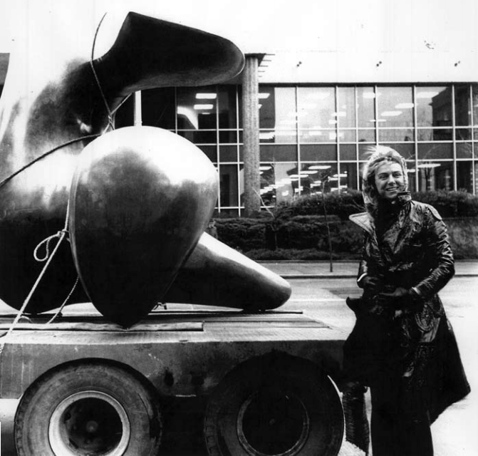 Paule Anglim, at an installation with a Henry Moore sculpture.