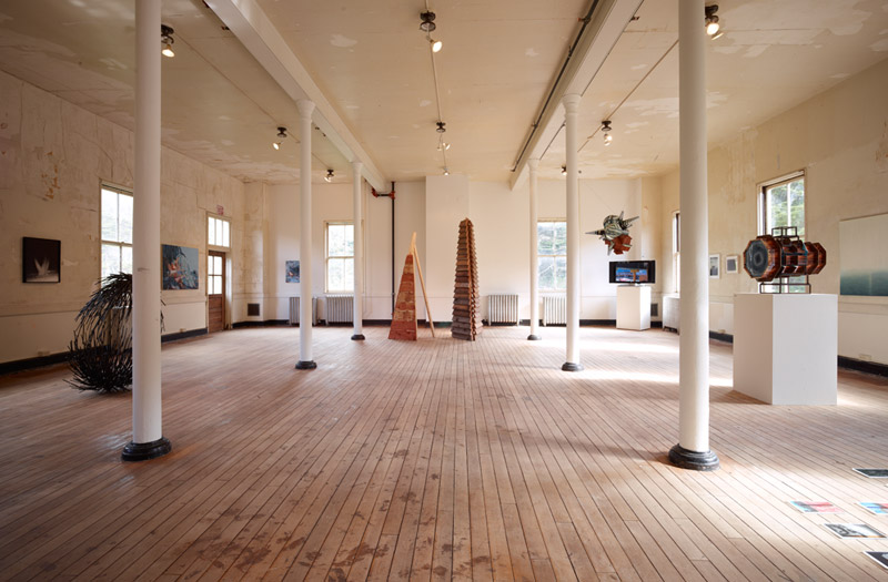 """Installation view, """"De-Mobbing,"""" a group exhibition of California artists at Headlands Center for the Arts, Sausalito, 2012."""
