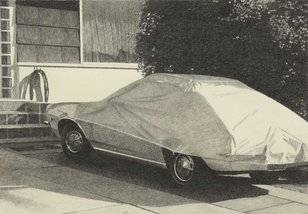 "Robert Bechtle, Covered Car, Albany California, 2010, charcoal on paper, 10"" x 14 3:8"""