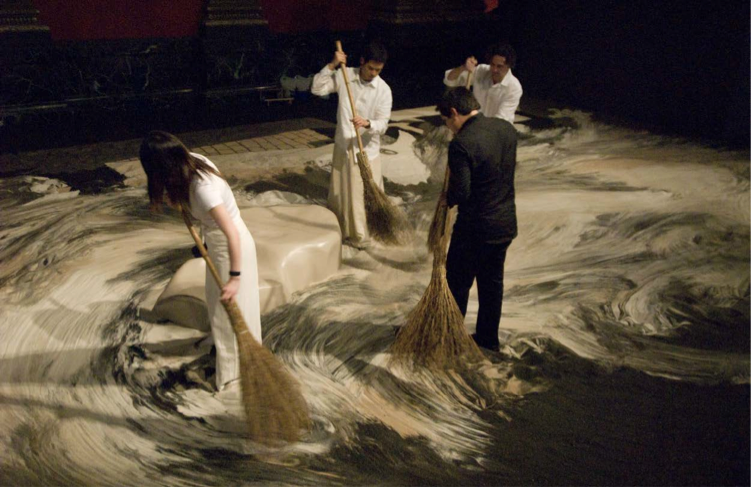 Guernica in Sand, 2007. Performance view of Impermanence. Chicago Cultural Center, Chicago . Photograph by Anita Kan. Courtesy of the Mori Art Museum, Japan.