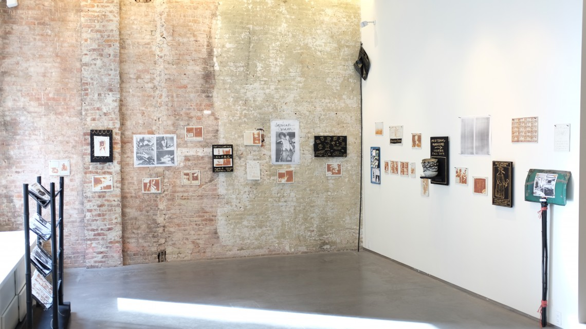 """Installation view, """"Slabs,"""" Pat McCarthy at agnès b. galerie, New York, 2015. Courtesy of the artist."""