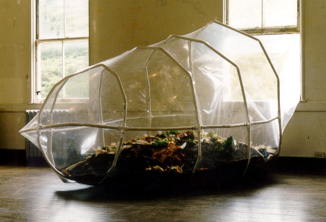 Phil Ross, Composed, 1998. PVC tubing, shrink-wrap, compost, 6 x 5 x 12 feet. Produced at Headlands Center for the Arts during a 1998 residency.