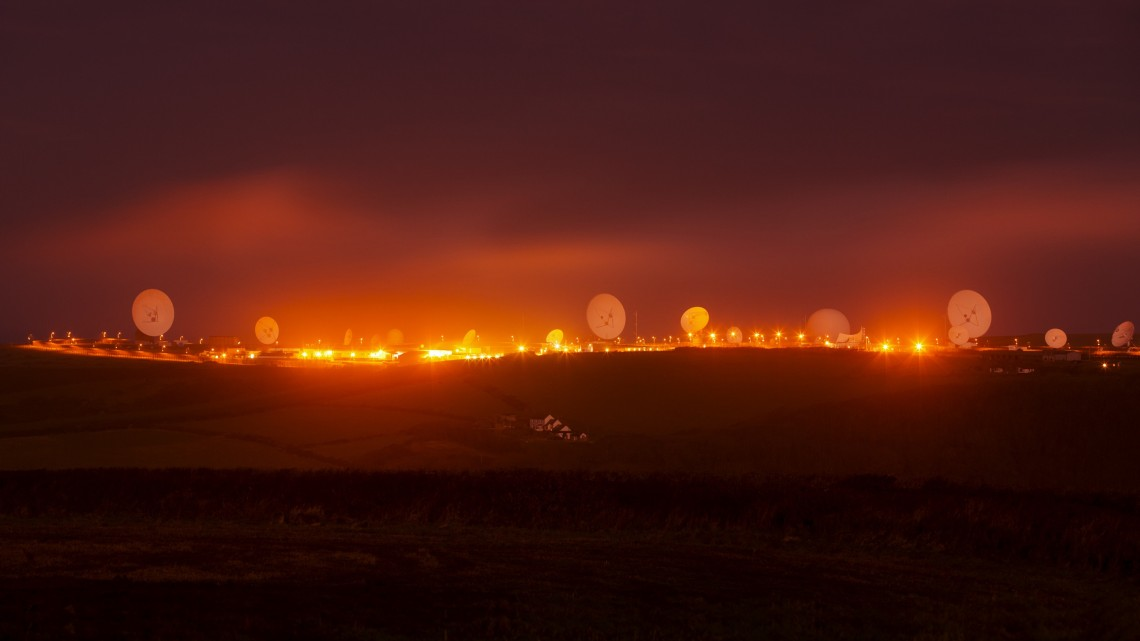 Trevor Paglen, NSA/GCHQ Surveillance Base, Bude, Cornwall, UK, 2014. Pigment print. 36 x 48 inches. Edition of 5. Courtesy of the artist, Altman Siegel (San Francisco), Metro Pictures (New York), and Galerie Thomas Zander (Cologne).