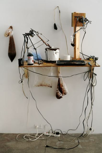 "Installation view, ""California Investigative Healing,"" Kal Spelletich at Jack Hanley Gallery, New York, 2009. Courtesy of Jack Hanley Gallery."